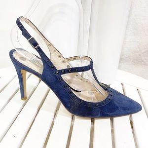 Boden Blue Suede Studded Heels 38.5 / 8